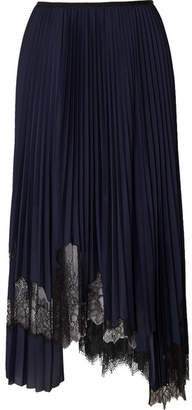 Helmut Lang Asymmetric Chantilly Lace-trimmed Pleated Satin Midi Skirt - Blue