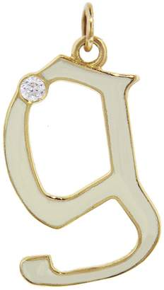 Foundrae Cream Champlevé Enamel Diamond Point Initial Charm
