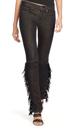 Polo Ralph Lauren Tompkins Fringed Skinny Jean $298 thestylecure.com