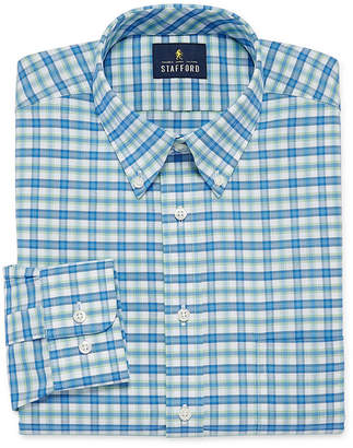 STAFFORD Stafford Travel Wrinkle Free Long Sleeve Oxford Plaid Dress Shirt- Big And Tall