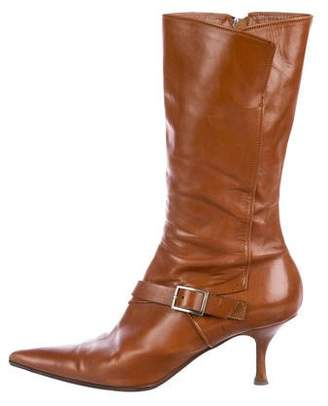 Michel Perry Leather Pointed-Toe Boots