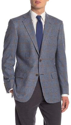 Hart Schaffner Marx Medium Blue Check Plaid Two Button Notch Lapel Classic Fit Blazer