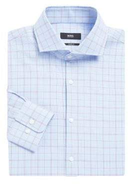 HUGO BOSS Overcheck Patterened Dress Shirt