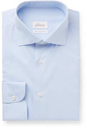Brioni Light-blue Slim-fit Checked Cotton Shirt - Blue