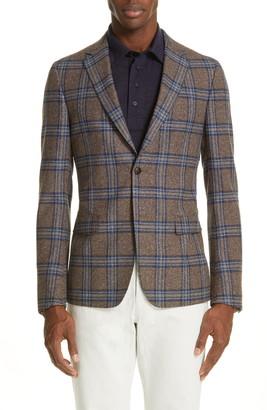 Ermenegildo Zegna Trim Fit Plaid Wool & Silk Sport Coat