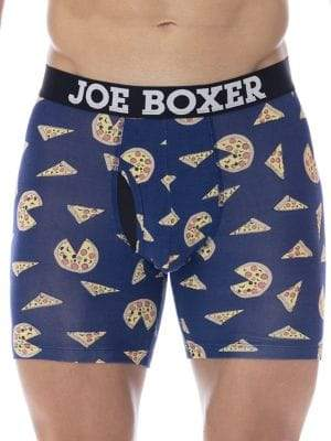 Joe Boxer Junk Drawer Pizza Party Fitted Boxer Shorts