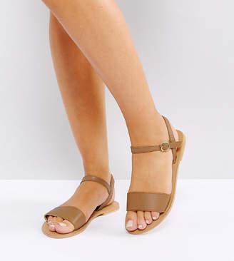 2b6b4644db0 Asos Design DESIGN Wide Fit Fliquey leather flat sandals