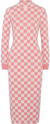 House of Holland Checked Stretch-knit Midi Dress - Pink