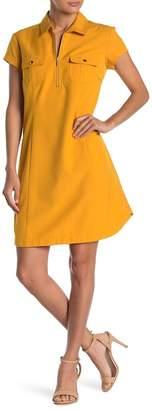 Sharagano Front Zip Short Sleeve Shirt Dress