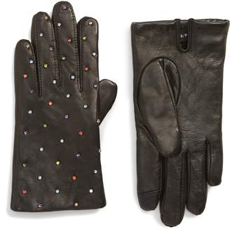 Echo Rani Crystal Embellished Leather Touchscreen Gloves