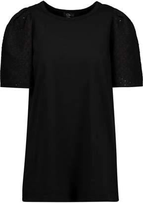 Clu (クルー) - Clu イギリス刺繍パネル付き コットン Tシャツ