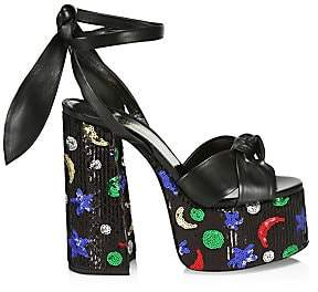f219a952139 Saint Laurent Women s Paige Star Sequin High Heel Platform Slingback Sandals