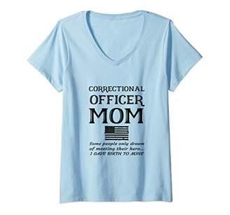 Womens Proud Correctional Officer Mom Penal Mother American Flag V-Neck T-Shirt