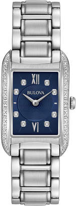 Bulova 34mm Rectangular Bracelet Watch w/ Diamond Bezel