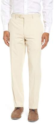 JB Britches Flat Front Stripe Cotton Blend Trousers