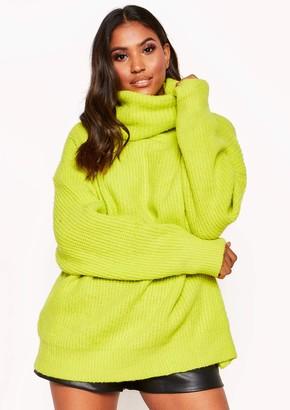 Missy Empire Missyempire Tamarah Neon Yellow Roll Neck Oversized Knit Jumper