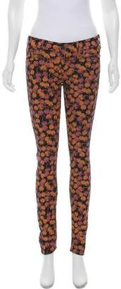 Mother Cherry Print Low-Rise Jeans