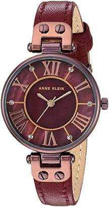 Anne Klein Women's Quartz Metal and Leather Dress Watch