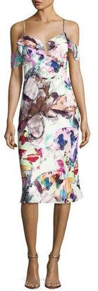 Black Halo Lola Cold-Shoulder Abstract Sheath Dress, Butterfly Garden $375 thestylecure.com