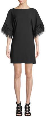 Jay Godfrey JAY X JAYGODFREY Budden Mini Dress w/ Feather Sleeves