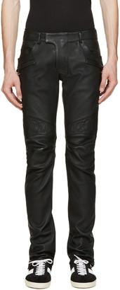 Balmain Black Leather Biker Trousers $3,825 thestylecure.com
