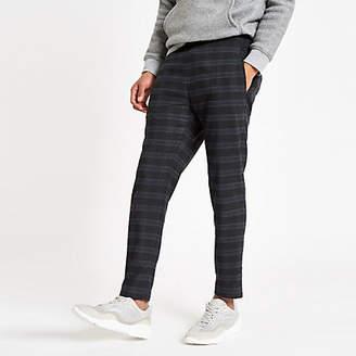 River Island Navy check skinny fit jogger pants