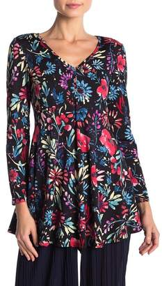 24\u002F7 Comfort Flared Floral Long Sleeve Henley Tunic Top (Regular & Plus)