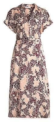 Equipment Women's Orlena Floral & Leopard Print Silk-Blend A-Line Shirtdress