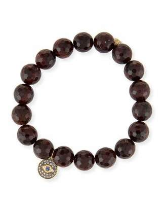 Sydney Evan 10mm Faceted Garnet Bracelet with Diamond Evil Eye Medallion Charm