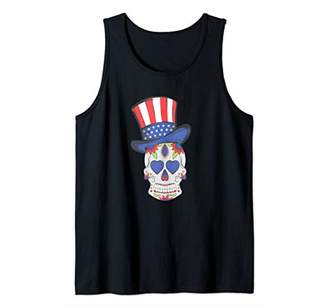 SAM. 4th of July Sugar Skull wearing Uncle Hat American Flag Tank Top