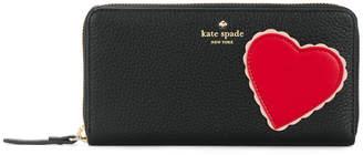 Kate Spade heart patch zip around continental wallet