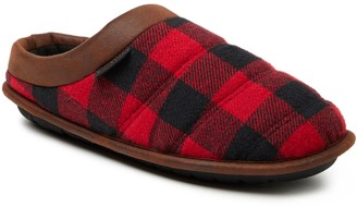 Dearfoams Men's Quilted Clog with Faux Leather Trim