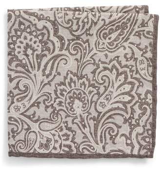 Eleventy Paisley Wool & Cotton Pocket Square