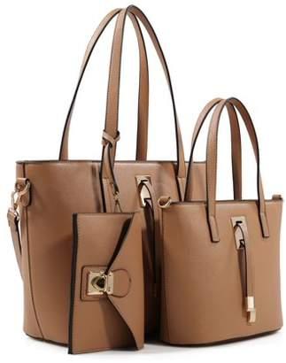 Deluxity 3-Piece Tote Handbag Set- Camel