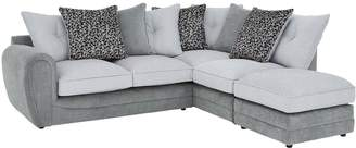 Very Mosaic Fabric Right-Hand Single Arm Chaise Sofa with Matching Footstool