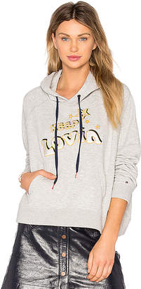 Tommy Hilfiger TOMMY X GIGI Slogan Hoodie in Gray $140 thestylecure.com