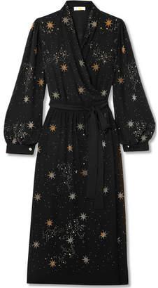 Stine Goya Micaela Embellished Crepe Wrap Dress - Black
