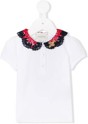Gucci Kids embroidered lace collar polo shirt