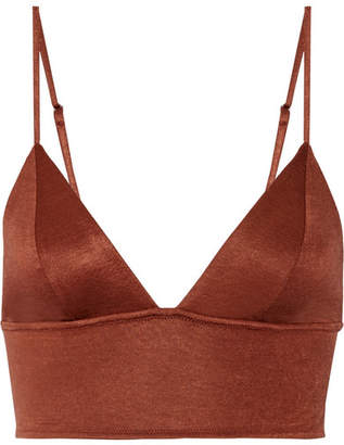 Fleur Du Mal Stretch-jersey Soft-cup Triangle Bra - Brown