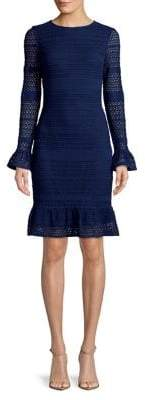 Adrianna Papell Cable-Knit Lace Sheath Dress