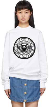 Balmain White Flocked Medallion Sweatshirt