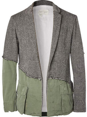 Greg Lauren Slim-Fit Panelled Distressed Herringbone Wool And Cotton-Canvas Blazer