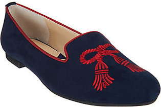 Adrienne Vittadini Suede Embroidered Flats- Doloris $22.73 thestylecure.com