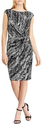 Ralph Lauren Petites Twist-Front Printed Jersey Dress