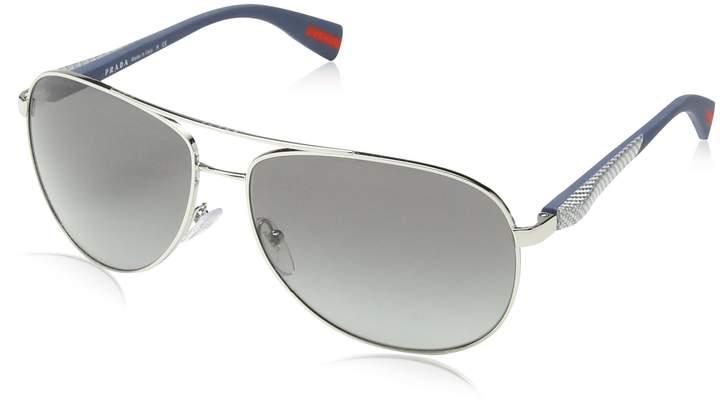 Prada Men's Linea Rossa PS51OS-1BC3M1-62 Round Sunglasses