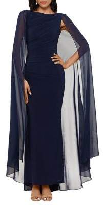 Betsy & Adam Cape-Sleeve Column Gown
