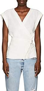 Frame Women's Linen Wrap Top-White