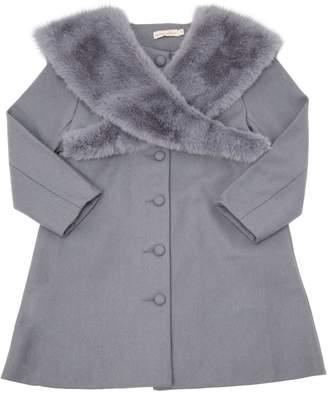 Wool Felt Coat W/ Faux Fur Collar