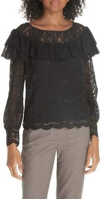 Rebecca Taylor Cotton Blend Lace Ruffle Blouse