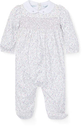 Ralph Lauren Childrenswear Floral Smocked Footed Playsuit, Size 3-9 Months